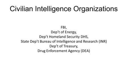 Civilian Intelligence Organizations