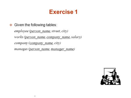 1 Exercise 1  Given the following tables: employee (person_name, street, city)‏ works (person_name, company_name, salary)‏ company (company_name, city)‏