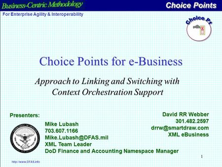 1 Choice Points for e-Business Approach to Linking and Switching with Context Orchestration Support Choice Points  For Enterprise Agility.