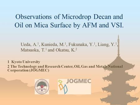 Observations of Microdrop Decan and Oil on Mica Surface by AFM and VSI. Ueda, A. 1, Kunieda, M. 1, Fukunaka, Y. 1, Liang, Y. 1, Matsuoka, T. 1 and Okatsu,