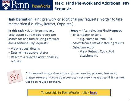 Task: Find Pre-work and Additional Pay Requests To see this in PennWorks...click herehere Task Definition: Find pre-work or additional pay requests in.
