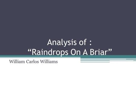 "Analysis of : ""Raindrops On A Briar"""