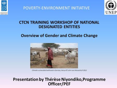 CTCN TRAINING WORKSHOP OF NATIONAL DESIGNATED ENTITIES Overview of Gender and Climate Change Climate vulnerable livelihood in Garissa, Kenya © John van.