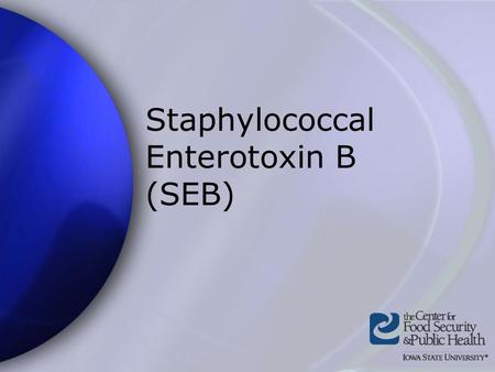 Staphylococcal Enterotoxin B (SEB). Center for Food Security and Public Health Iowa State University - 2004 Overview Organism History Epidemiology Transmission.