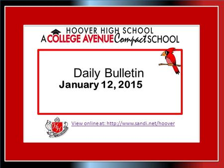 View online at:  Daily Bulletin January 12, 2015.