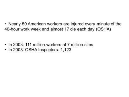 Nearly 50 American workers are injured every minute of the 40-hour work week and almost 17 die each day (OSHA) In 2003: 111 million workers at 7 million.