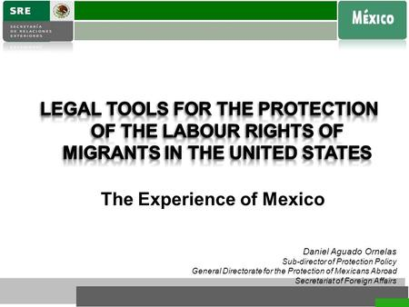 Daniel Aguado Ornelas Sub-director of Protection Policy General Directorate for the Protection of Mexicans Abroad Secretariat of Foreign Affairs The Experience.