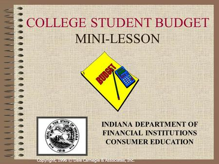 COLLEGE STUDENT BUDGET MINI-LESSON