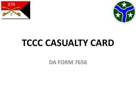 TCCC CASUALTY CARD DA FORM 7656.