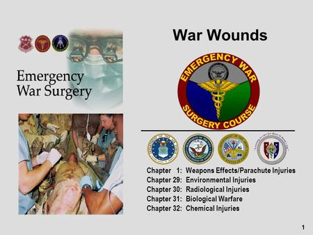 1 War Wounds Chapter 1: Weapons Effects/Parachute Injuries Chapter 29: Environmental Injuries Chapter 30: Radiological Injuries Chapter 31: Biological.