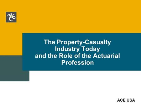 ACE USA The Property-Casualty Industry Today and the Role of the Actuarial Profession.