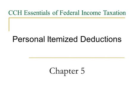 Personal Itemized Deductions