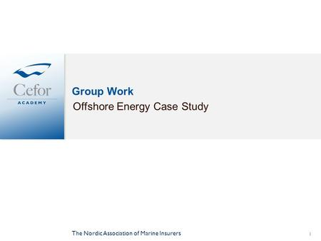 Group Work Offshore Energy Case Study The Nordic Association of Marine Insurers 1.