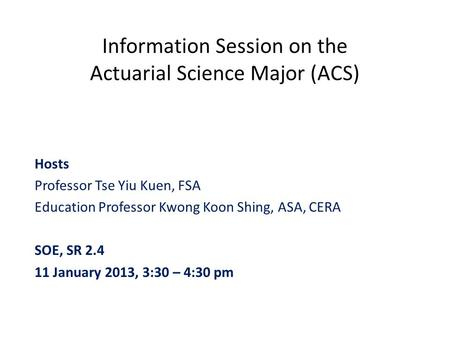 Information Session on the Actuarial Science Major (ACS)