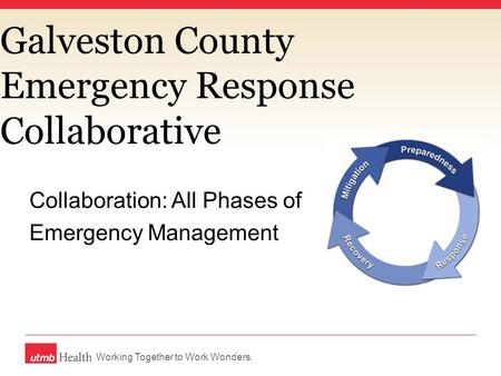 Working Together to Work Wonders. Galveston County Emergency Response Collaborative Collaboration: All Phases of Emergency Management.