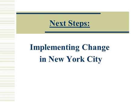 Next Steps: Implementing Change in New York City.