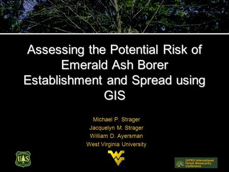 Assessing the Potential Risk of Emerald Ash Borer Establishment and Spread using GIS Michael P. Strager Jacquelyn M. Strager William D. Ayersman West Virginia.