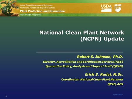 United States Department of Agriculture Animal and Plant Health Inspection Service Plant Protection and Quarantine Spring 2009 1 National Clean Plant Network.