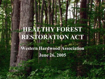 HEALTHY FOREST RESTORATION ACT Western Hardwood Association June 26, 2005.