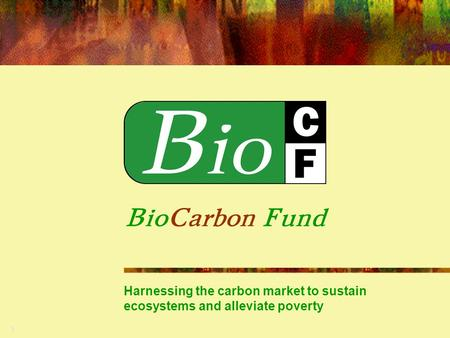 1 BioCarbon Fund Harnessing the carbon market to sustain ecosystems and alleviate poverty.