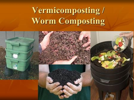 Vermicomposting / Worm Composting. Presentation 10: The Composting Toolkit Funded by the Indiana Department of Environmental Management Recycling Grants.