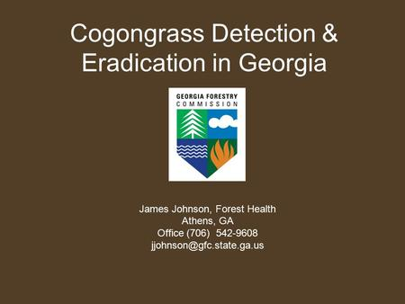 Cogongrass Detection & Eradication in Georgia James Johnson, Forest Health Athens, GA Office (706) 542-9608
