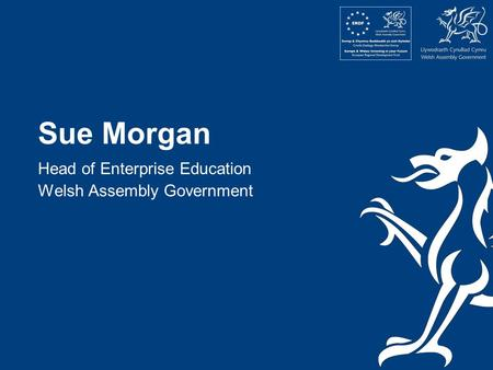 Sue Morgan Head of Enterprise Education Welsh Assembly Government.