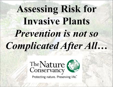 1 Assessing Risk for Invasive Plants Prevention is not so Complicated After All…