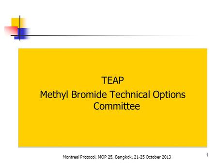 TEAP Methyl Bromide Technical Options Committee TEAP Methyl Bromide Technical Options Committee 1 Montreal Protocol, MOP 25, Bangkok, 21-25 October 2013.