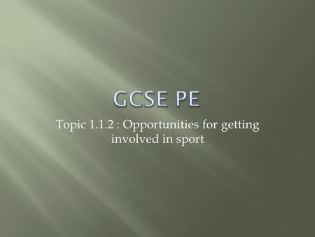 Topic 1.1.2 : Opportunities for getting involved in sport.