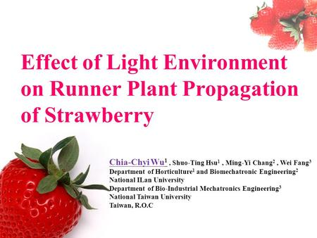 Effect of Light Environment on Runner Plant Propagation of Strawberry Chia-Chyi Wu 1, Shuo-Ting Hsu 1, Ming-Yi Chang 2, Wei Fang 3 Department of Horticulture.