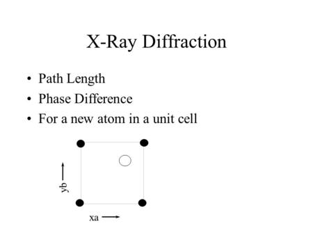 X-Ray Diffraction Path Length Phase Difference For a new atom in a unit cell xa yb.