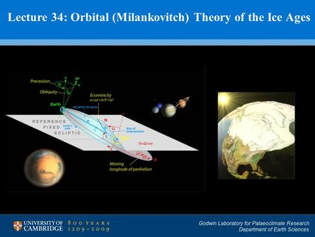 Lecture 34: Orbital (Milankovitch) Theory of the Ice Ages.