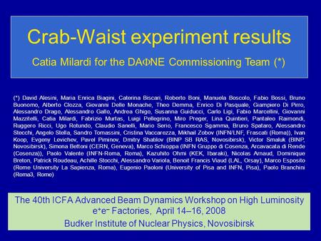 Crab-Waist experiment results The 40th ICFA Advanced Beam Dynamics Workshop on High Luminosity e + e – Factories, April 14–16, 2008 Budker Institute of.
