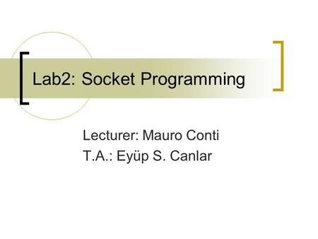 Lab2: Socket Programming Lecturer: Mauro Conti T.A.: Eyüp S. Canlar.
