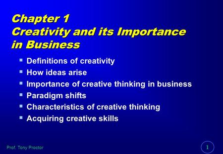 Chapter 1 Creativity and its Importance in Business
