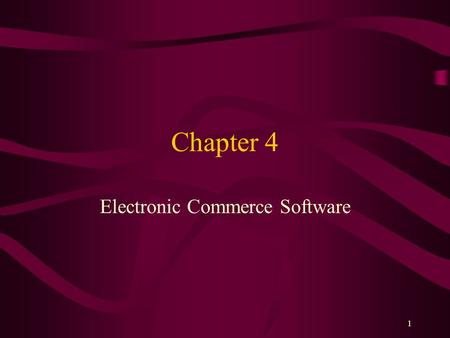 Electronic Commerce Software