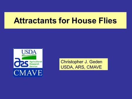Attractants for House Flies Christopher J. Geden USDA, ARS, CMAVE.
