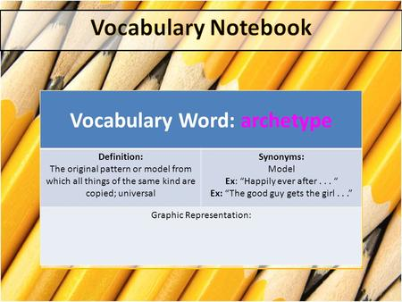 "Vocabulary Word: archetype Definition: The original pattern or model from which all things of the same kind are copied; universal Synonyms: Model Ex: ""Happily."