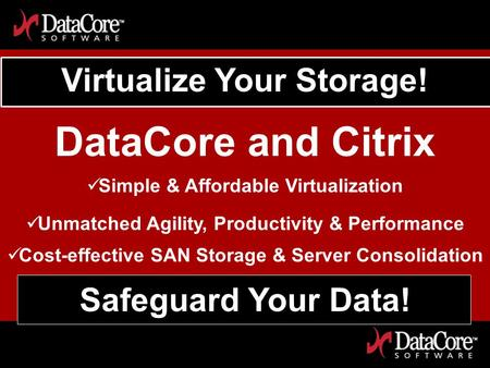 DataCore Software Proprietary Information Virtualize Your Storage! DataCore and Citrix Simple & Affordable Virtualization Unmatched Agility, Productivity.