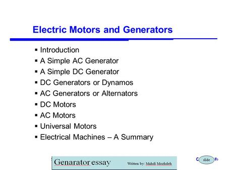 Storey: Electrical & Electronic Systems © Pearson Education Limited 2004 OHT 23.1 Electric Motors and Generators  Introduction  A Simple AC Generator.