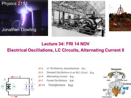 Physics 2113 Jonathan Dowling Lecture 34: FRI 14 NOV Electrical Oscillations, LC Circuits, Alternating Current II.