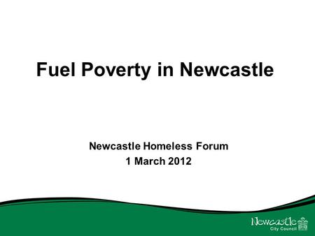 Fuel Poverty in Newcastle Newcastle Homeless Forum 1 March 2012.