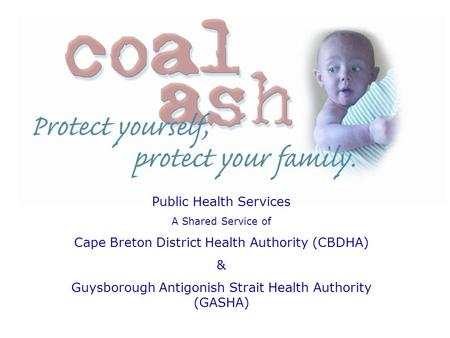 Public Health Services A Shared Service of Cape Breton District Health Authority (CBDHA) & Guysborough Antigonish Strait Health Authority (GASHA)