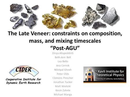 "The Late Veneer: constraints on composition, mass, and mixing timescales ""Post-AGU"" Divya Allupeddinti Beth-Ann Bell Lea Bello Ana Cernok Nilotpal Ghosh."
