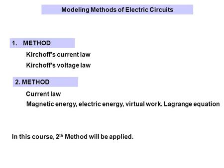 Kirchoff's current law Kirchoff's voltage law 1.METHOD Current law Magnetic energy, electric energy, virtual work. Lagrange equation 2. METHOD Modeling.