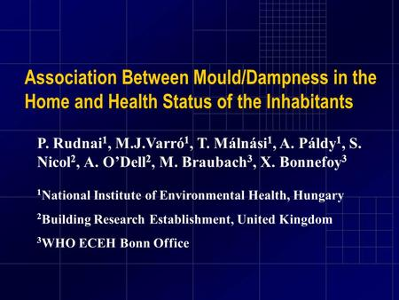 Association Between Mould/Dampness in the Home and Health Status of the Inhabitants P. Rudnai 1, M.J.Varró 1, T. Málnási 1, A. Páldy 1, S. Nicol 2, A.