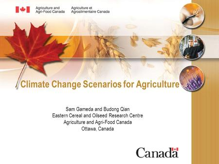 Climate Change Scenarios for Agriculture Sam Gameda and Budong Qian Eastern Cereal and Oilseed Research Centre Agriculture and Agri-Food Canada Ottawa,