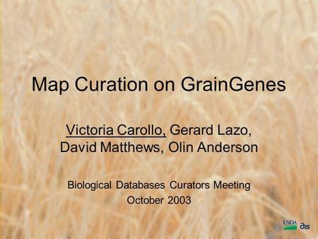 Map Curation on GrainGenes Victoria Carollo, Gerard Lazo, David Matthews, Olin Anderson Biological Databases Curators Meeting October 2003.