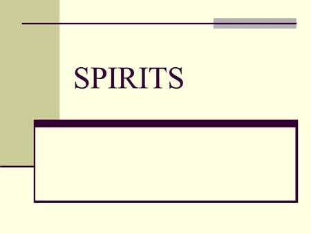 SPIRITS. Distilled beverages The Spirits Brandy Ingredients: fruit wine (mostly Grape) The word comes from the Dutch brandewijn meaning burnt wine.